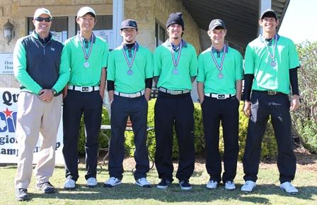 Boys golf took second place at Regionals and qualified to play at the State tournament. Pictured is Coach Cary Williams, Charles Kim (11), Jordan Sanders (12), Von Small (12), Justin Meredith (12) and Chase Esparza (12).