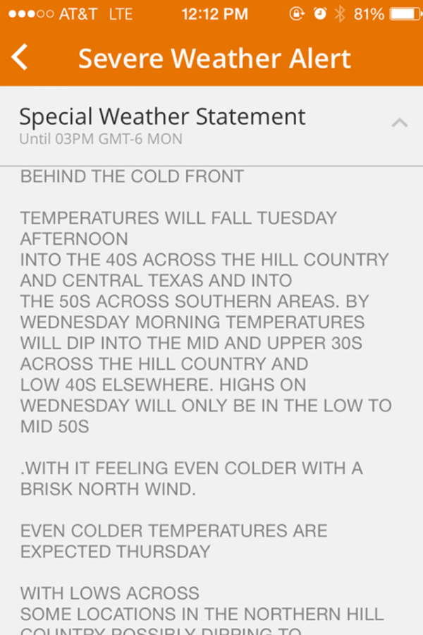 The+Weather+Channel+iPhone+app+released+a+%22special+weather+statement%2C%22+regarding+the+upcoming+cold+front.