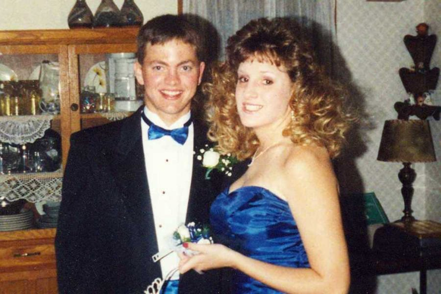Spanish teacher Kris Campos at her prom. Photo courtesy of Kris Campos.