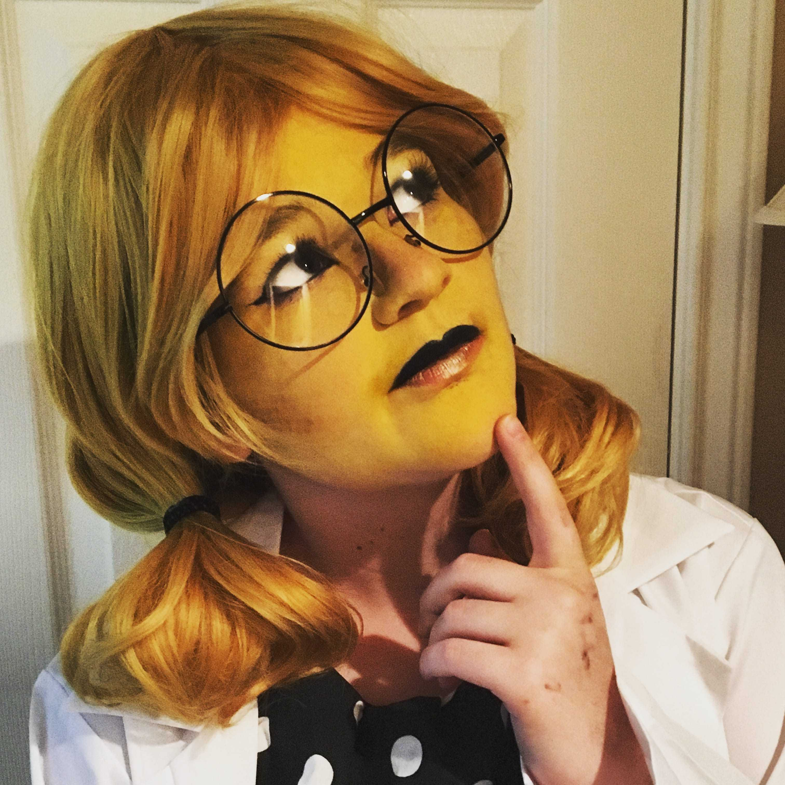 Sarah Ray cosplayed as Dr. Alphys from a popular computer game called Undertale.