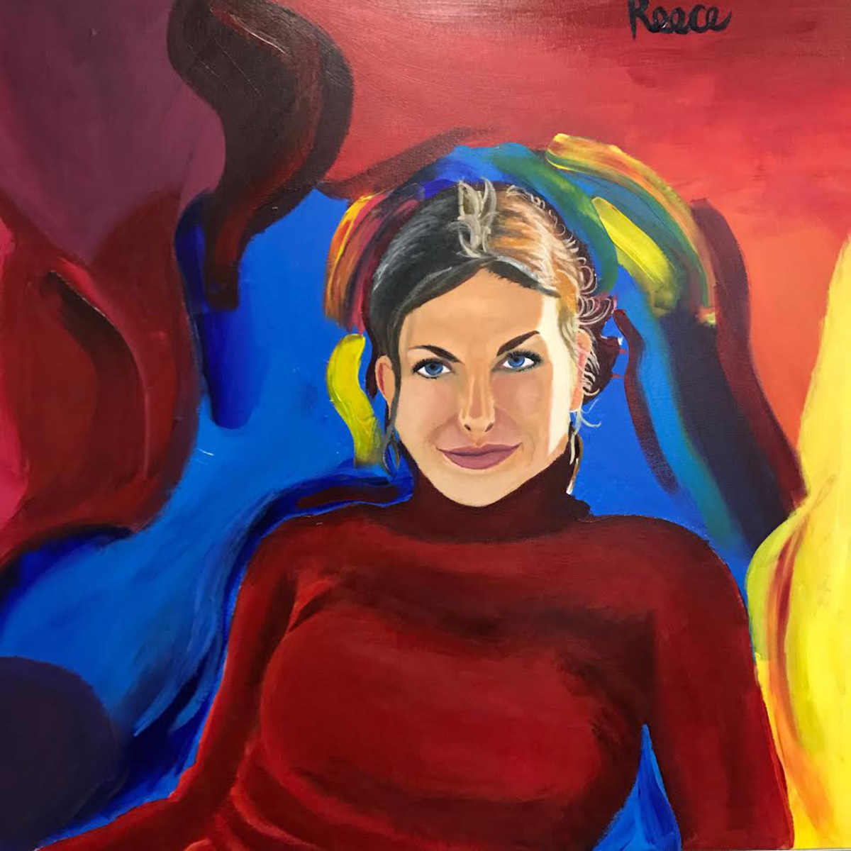 Senior+Reece+Replogle+began+painting+portraits+of+impactful+people+in+his+life%2C+English+teacher+Michelle+Iskra+being+one+of+them.+