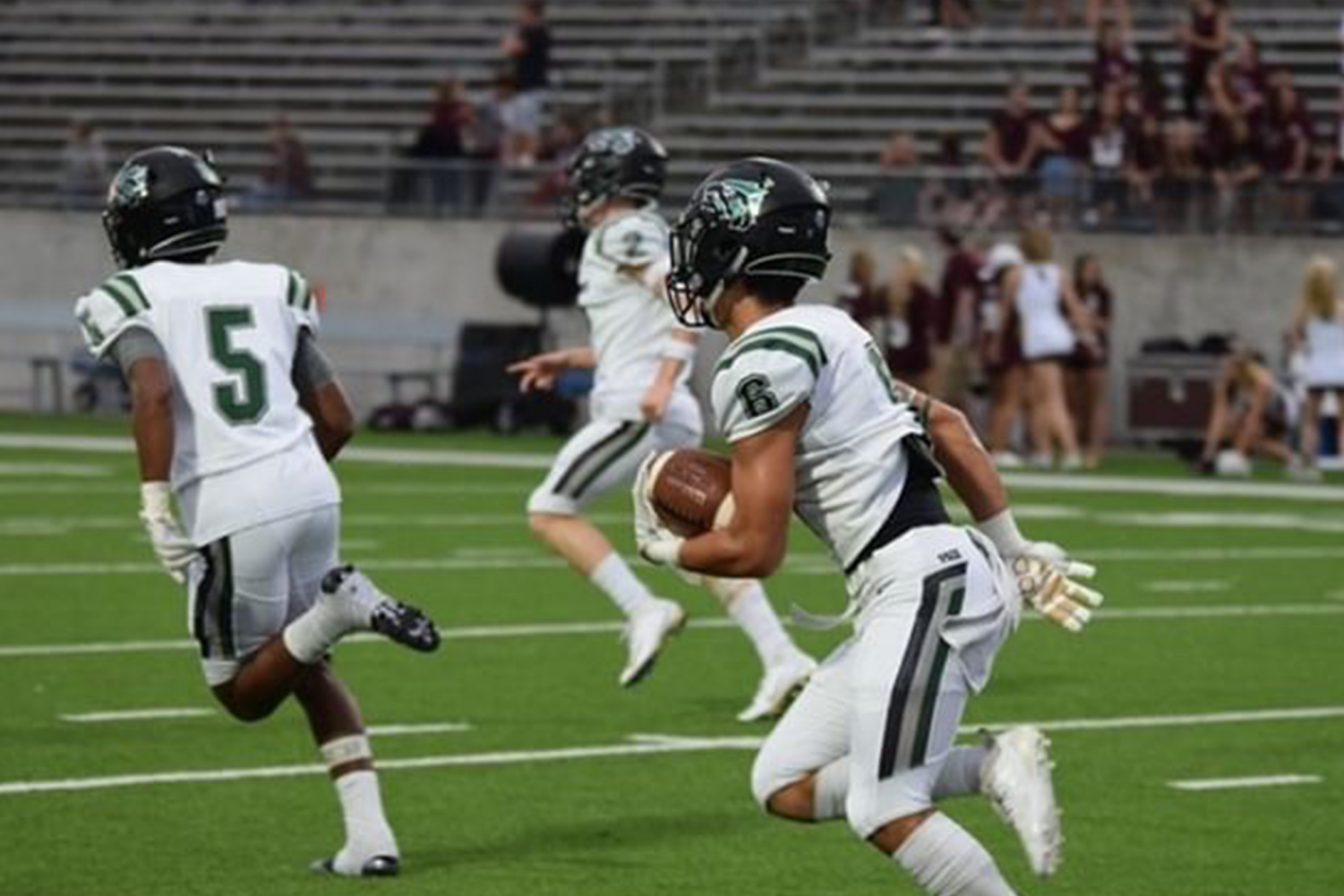 Junior Tammer Alzer returns a punt at Katy Cinco Ranch. Cedar Park won the game, 14-13, on Friday Sept. 21.