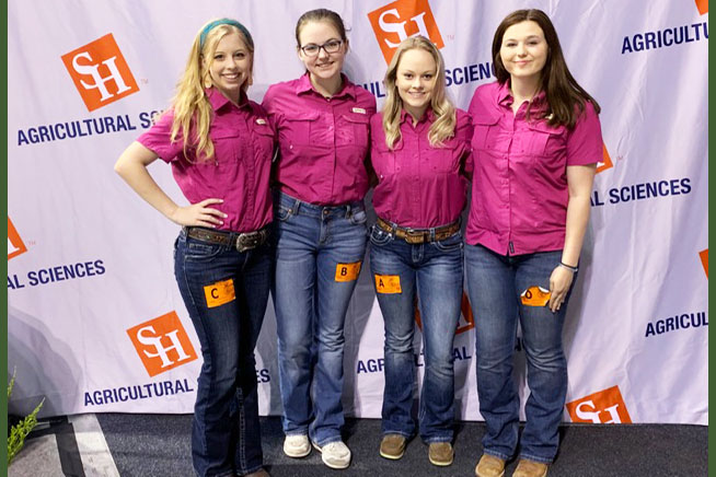 "FFA's floral team poses at the state competition on May 3. Entomology got 19th place out of 61 teams and floral got 37th place out of 1,113 teams. ""I am very proud of how we did at State,"" member Callie Hobbs said."