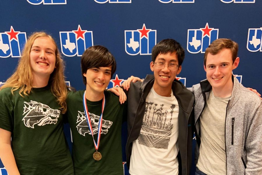 Seniors+Sage+Langenfeld%2C+Josh+Kolenbrander%2C+Thien+Le+and+junior+Gabe+Underwood+attend+the+UIL+state+meet+where+Kolenbrander+got+fifth+in+Computer+Science.+