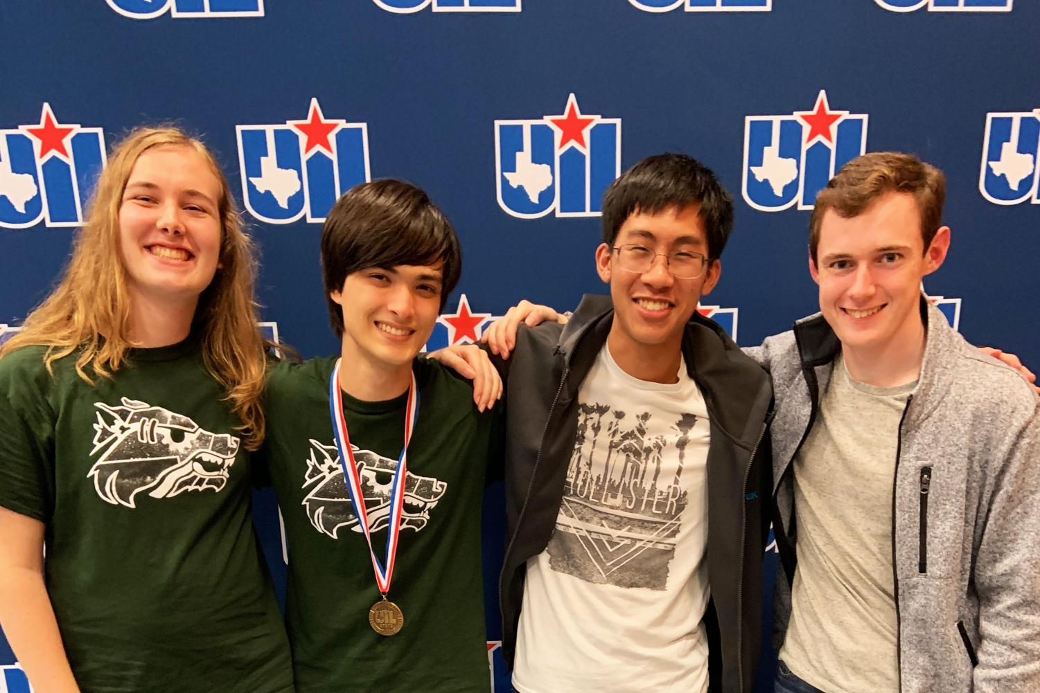 Seniors Sage Langenfeld, Josh Kolenbrander, Thien Le and junior Gabe Underwood attend the UIL state meet where Kolenbrander got fifth in Computer Science.