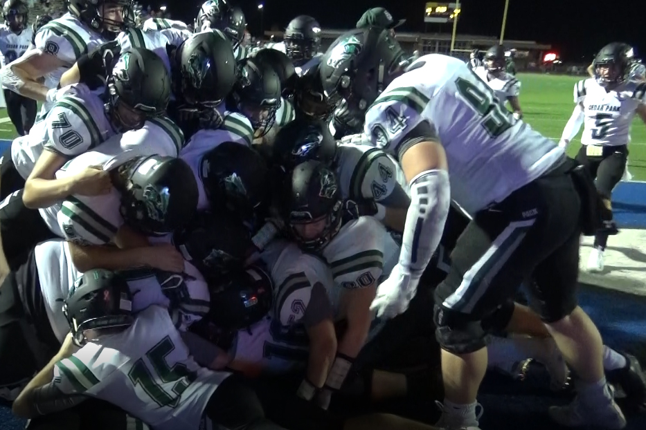 """Timberwolves celebrate as senior TE Brock Johnson seals the win in OT. The Timberwolves topped San Angelo 41-35. """"My mindset before the final play was just to put it in the endzone for my brothers and the community that came to watch,"""" Johnson said."""