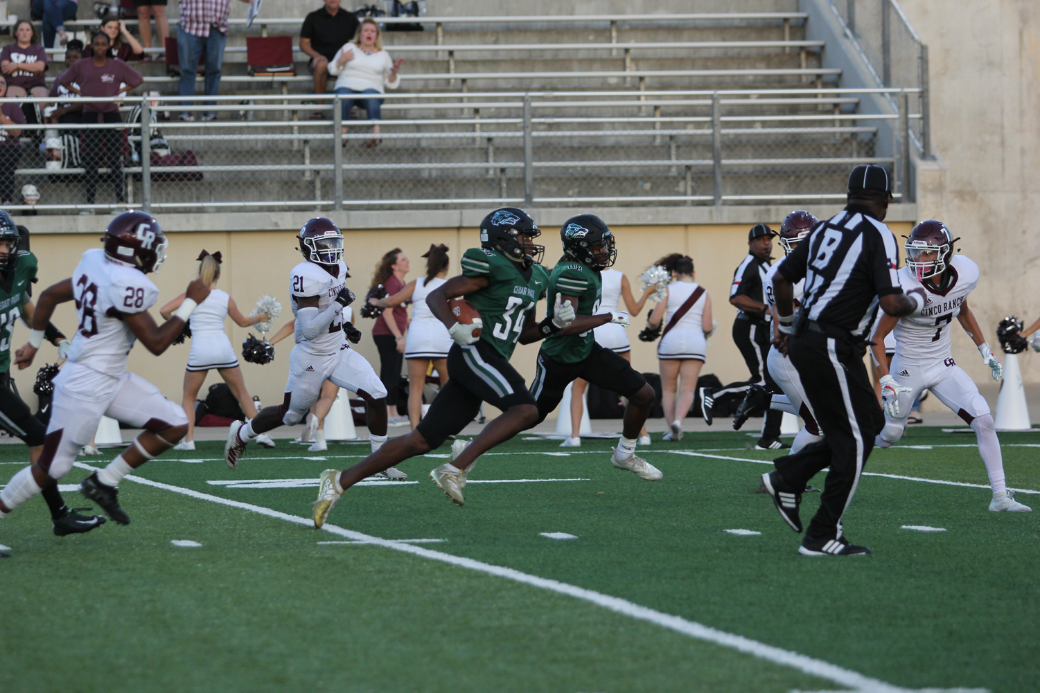 Junior WR Josh Cameron runs down the field against Katy Cinco Ranch. As district play begins this Friday, the team will need Gupton rocking every week as the team looks to win out and clinch a playoff berth.