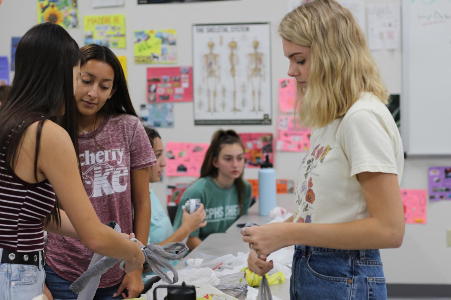 """Timberwolves for the Environment members work on converting plastic bags to mats and pillows. These newly converted mats and pillows will be donated to the homeless. """"You really feel good when you are making these things for other people because we get to deliver the mats and when we deliver it to the homeless and they are really appreciative of it,"""" junior club officer Savanna Laughlin said. """"It's really eye opening like, 'wow we have it really good' and just spending one hour after school can make such a difference in a person's life."""""""