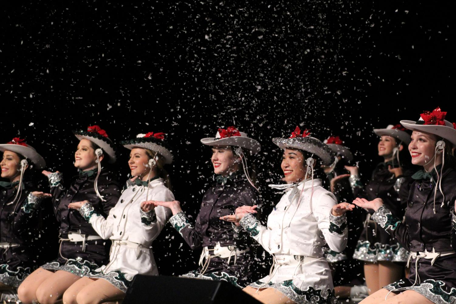 Smiling ear to ear, the celebrities finish out their holiday show with the grand finale. The show was sponsored by the celebrities, but the Spanish Honor Society, PALS, theatre, choir, both the CPMS and CPHS dance classes and the CPMS Crimson Cadets participated.