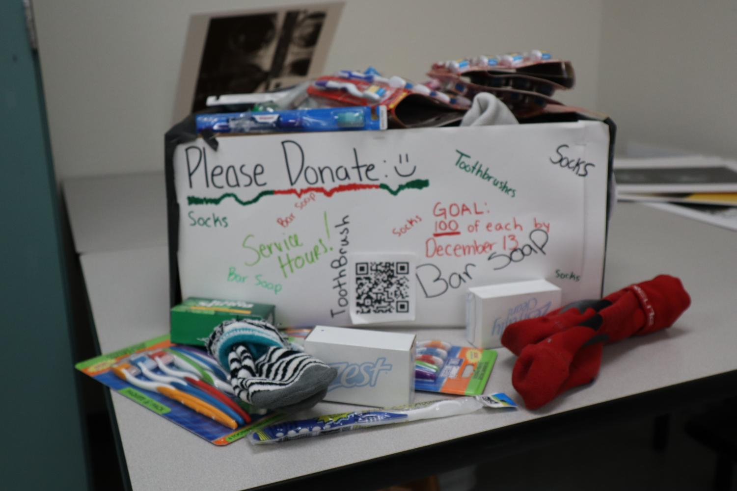 The box used to collect items for the drive. this was desigmned by every member of the club according to Shipps and there were several prototypes as well.