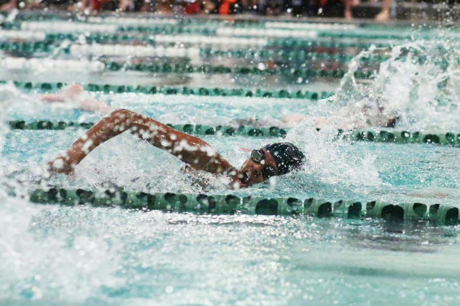 Swimming at the district meet on Jan. 17, freshman Avanthika Ayyadurai comes up for air during a race. During the meet, Ayyadurai said that she received support from her fellow teammates.