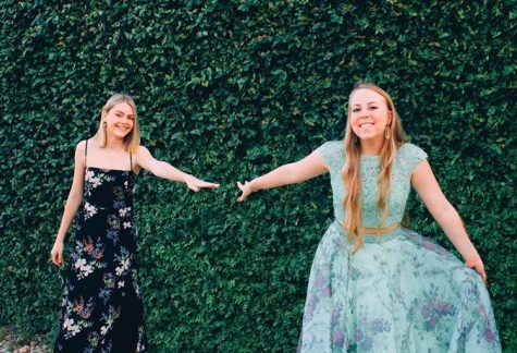 "Julia Meyer and Kendee West practice social distancing while having their own senior prom at The Oasis. ""My sweet family helped me get ready and my sister took pictures of me and my best friend Julia and we just talked and laughed,"" West said. ""It wasn't exactly how I imagined senior prom, but I was happy that I could still spend time with my best friend even from 6 feet apart."""