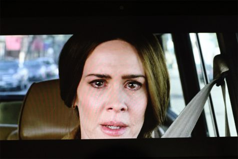 "This is an iconic scene from the 2018 film ""Bird Box."" To get the effect in actress Sarah Paulson"