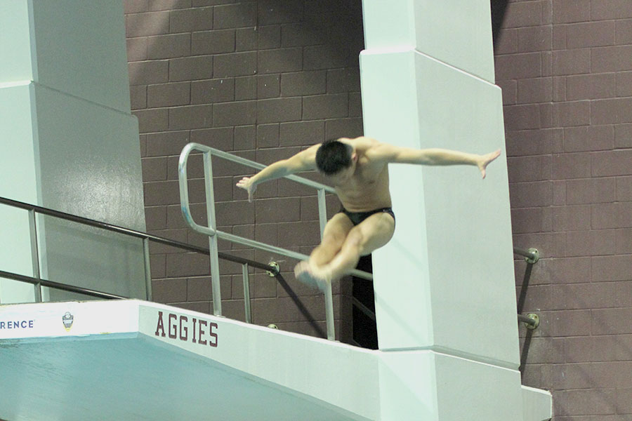 Pierce Brooke dives at the 2020 regional swim and dive meet. Brooke began diving seven years ago because of his interest in swimming and gymnastics.