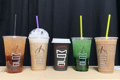 From left to right, the drinks are: Pixie Stick, Caramel Latte, Dark Chocolate Mocha, Timberwolf, Almond Joy.
