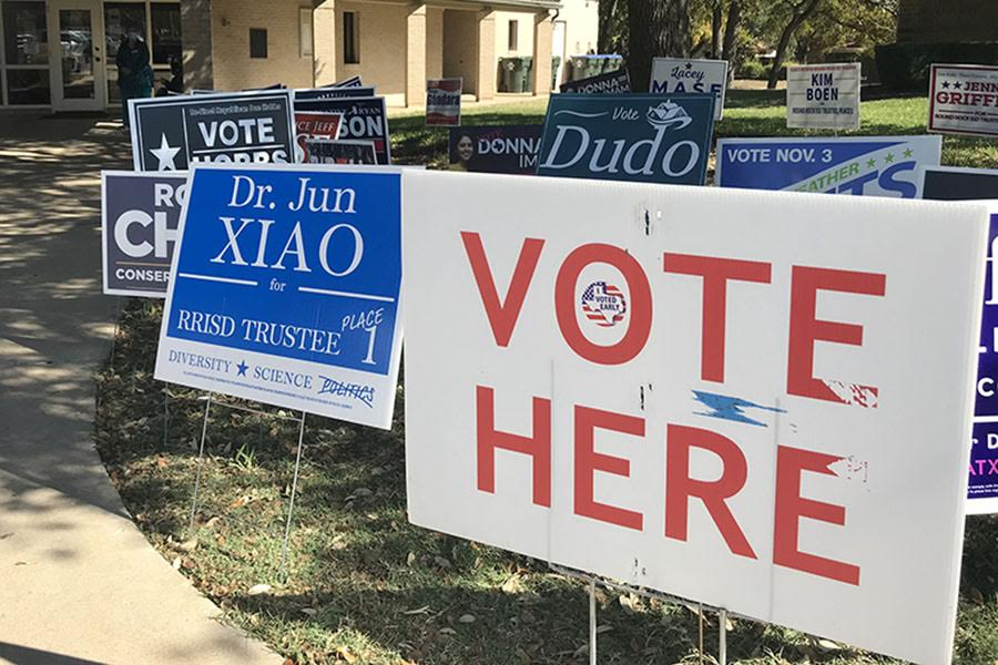 Voting signs at Williamson County voting location on Election Day in Texas.