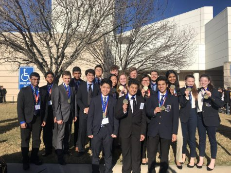 "Two years ago, the state-bound DECA members stand together, smiling as they show their medals. President Suparna Swaroop , one of the advancing members, has expressed happiness and pride at these members for their work and advancing to state. ""I am so proud of all the DECA members' work and successes this year,"" Swaroop said. ""Especially with COVID-19 and the new virtual competition, our DECA members have really done an excellent job of working hard and staying motivated. I know that we are all going to do really well at state because our chapter is filled with passionate business students that are determined to compete."""