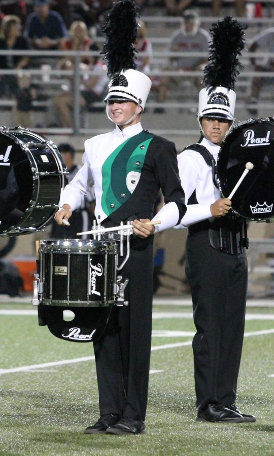 Senior Austin Cernosek plays during halftime of the Harker Heights game on Sept. 13. Photo by Katerina Lee