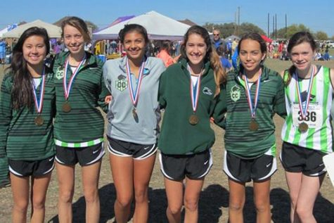 Taking third place at Regionals are girls cross country sophomores Brea Givens,  Vanessa Budde, Candelaria Conde de Frankenberg, Saige Serigny, Sarah Pia and junior Brianna Grabill. These girls will be competing at the state competition on Nov. 8.