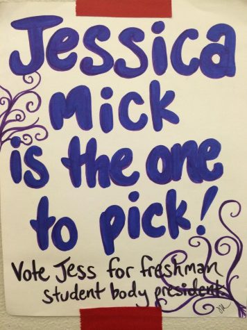 Freshmen candidates hung elections posters around the school hoping to gain their classmates' votes.
