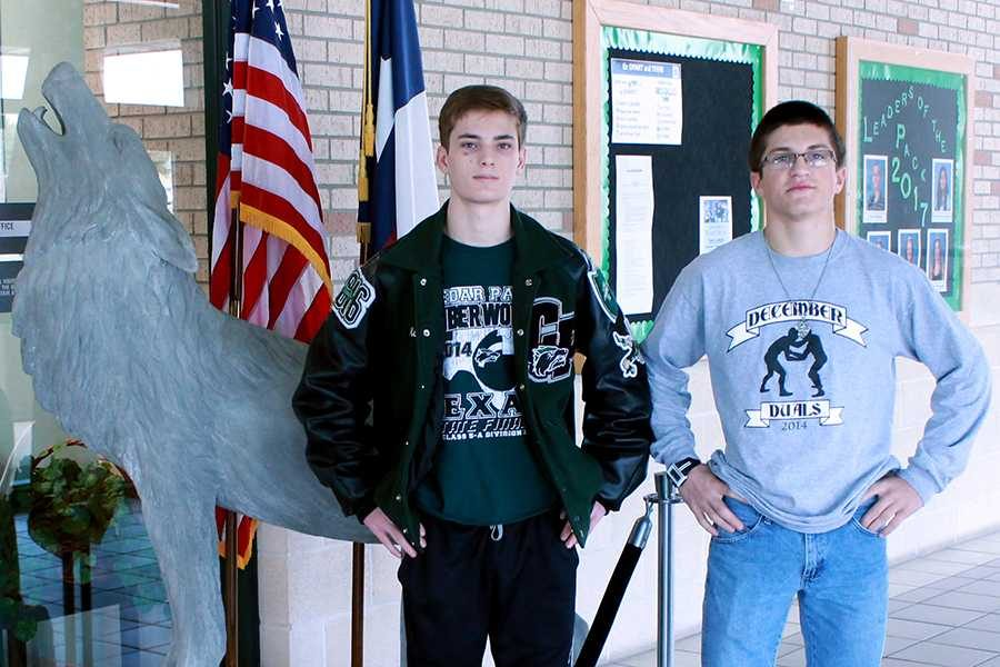 Juniors Mason Vidrine and Gabriel Lensing advance to State wrestling tourney on Feb. 20-21.