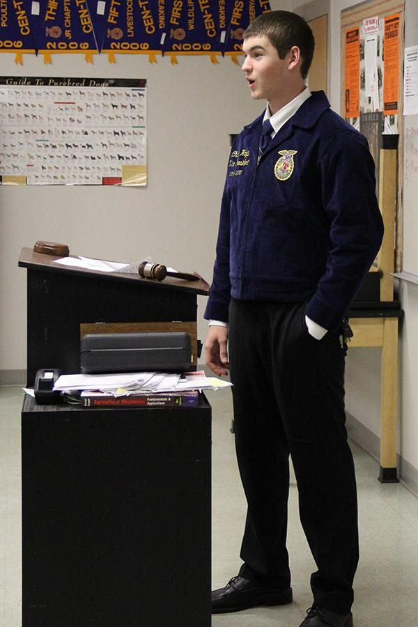Vice+President+and+junior+Charlie+Hoppe+addresses+FFA+members+during+a+meeting+on+Jan+14.+Hoppe+will+be+president+of+FFA+next+year%2C+and+said+he+is+grateful+for+being+selected+to+serve.+%0A%22I%27m+excited+to+lead+our+chapter+next+year%2C%22+Hoppe+said.+%22I+definitely+plan+on+getting+more+people+involved+in+FFA+next+year.%22+