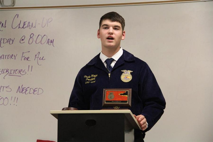 Senior Charlie Hoppe at one of the beginning FFA meeting's of the year. He is the 2015-2016 FFA president. Looking back to Freshman year, Hoppe didn't realize the success he would have.