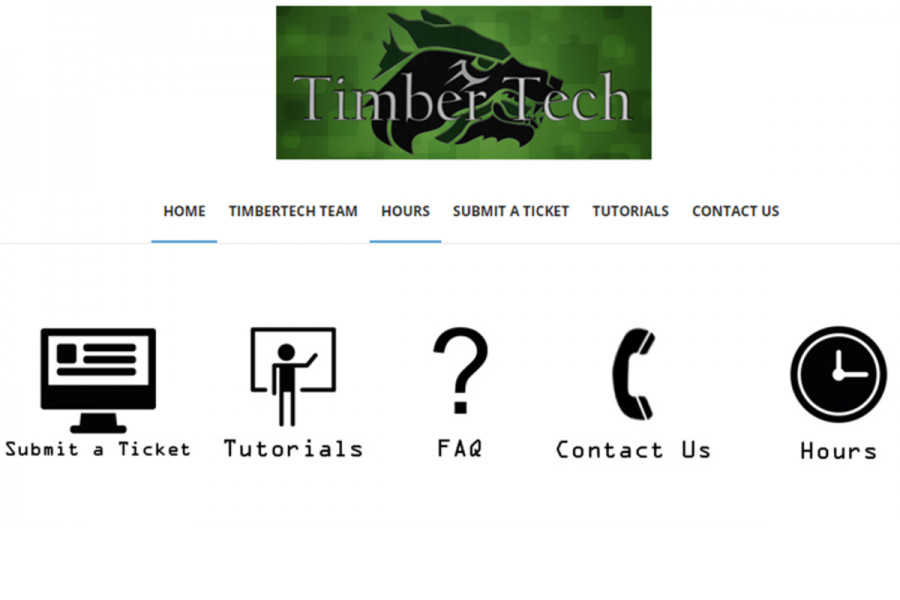 The+Timber+Tech+home+page+shown+above+is+where++freshman+can+go+to+submit+help+desk+tickets+or+receive+more+information+on+the+laptop+deployment.+