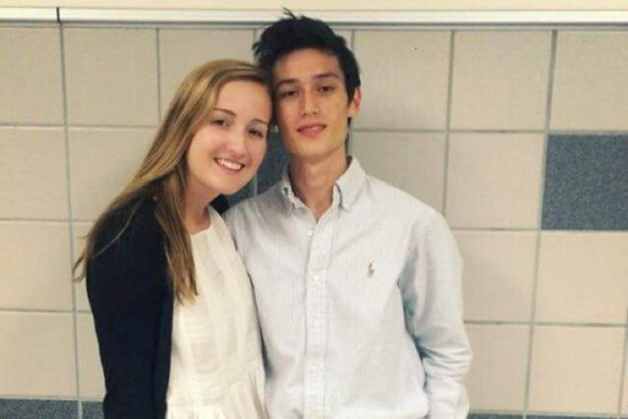 Junior Morgan Grosch and her friend and fellow debater Kyle Fennessy taking a picture together before a round.