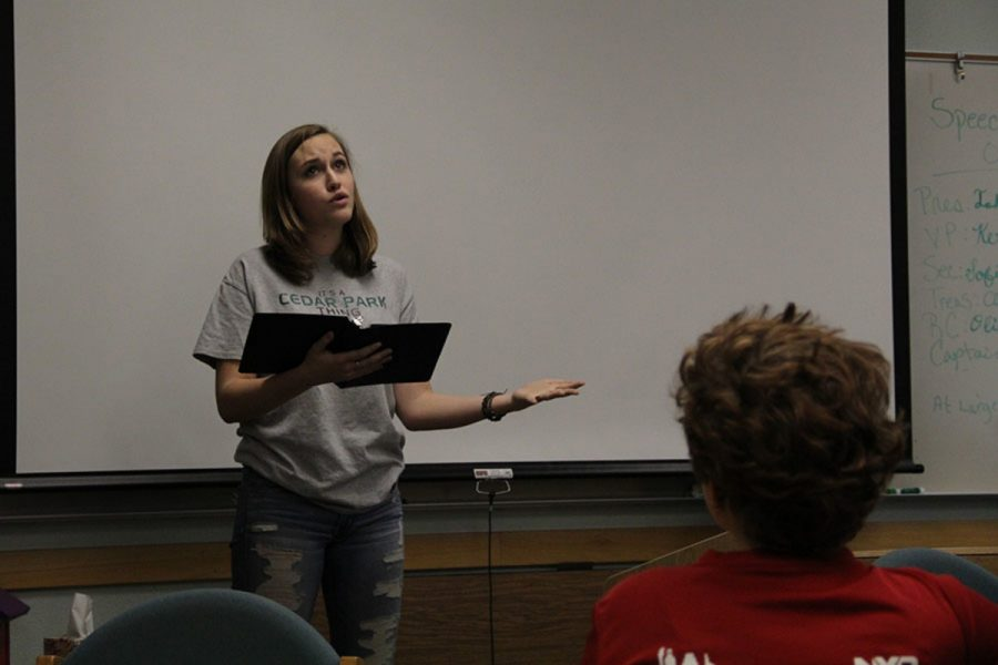 Sophomore Sydney Herrick practices her UIL prose pieces for the oral interpretation class. Although Herrick did not advance this year, she is readily preparing pieces for next year's competition season.