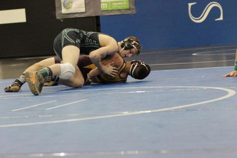 Mason Vidrine fights to win his match at the District tournament,