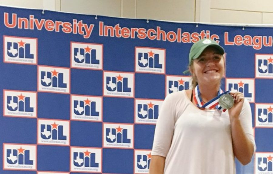 At the State UIL Academics competition on May 25, junior Lindsey Buggi wins second place in the headline writing competition.