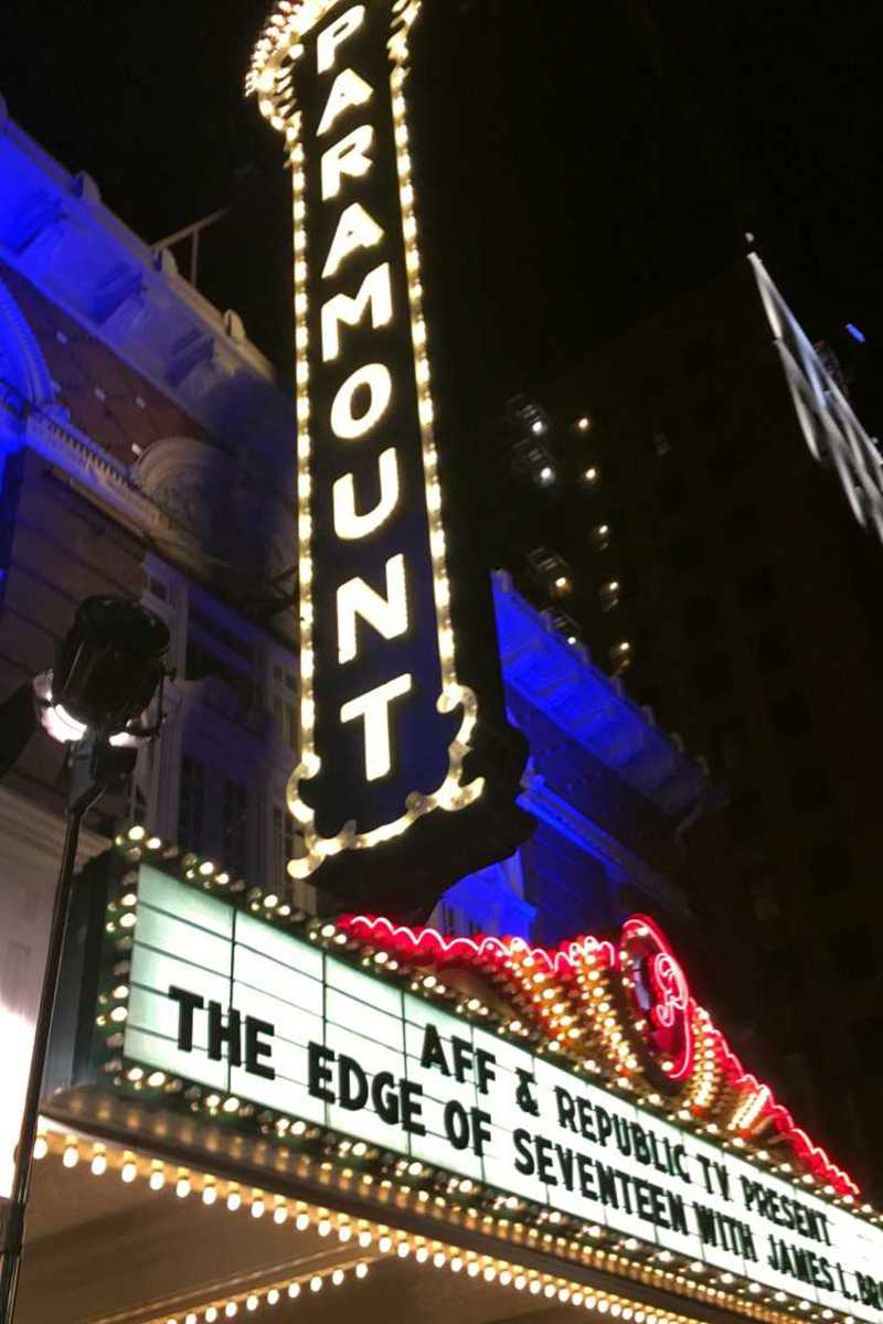Paramount theater advertising Austin Film Fest's screening of