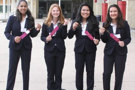 Juniors Nisha Raan, Mallory Matthys, Cathy Nguyen, and Cristina O'Hanlon won 5th place in the HOSA bowl at the HOSA Area 1 Spring Conference.