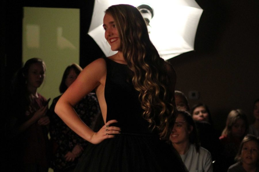 Senior Wynne McDonald walked in the Style Show wearing a black ball gown.