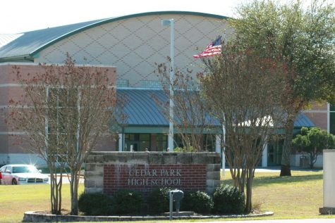 A view of Cedar Park High from in front.