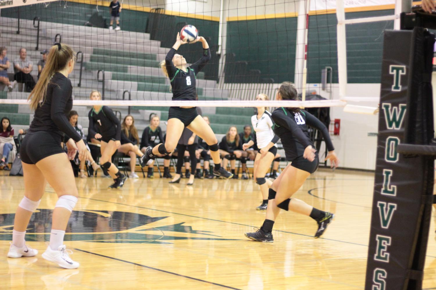 Junior Laurel Foster sets the ball to a teammate in the second sets against Rouse on Sept. 22.