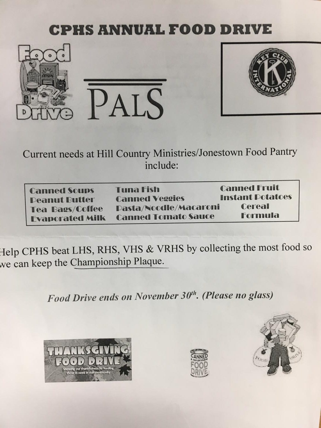 CPHS PAls/Key Club canned food drive fliers can be found hung throughout the halls of CPHS until the end of the event on Nov. 30.