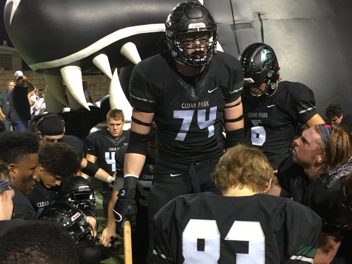Senior Mason Brooks motivated his teammates before a football game against Hutto on November 3rd.