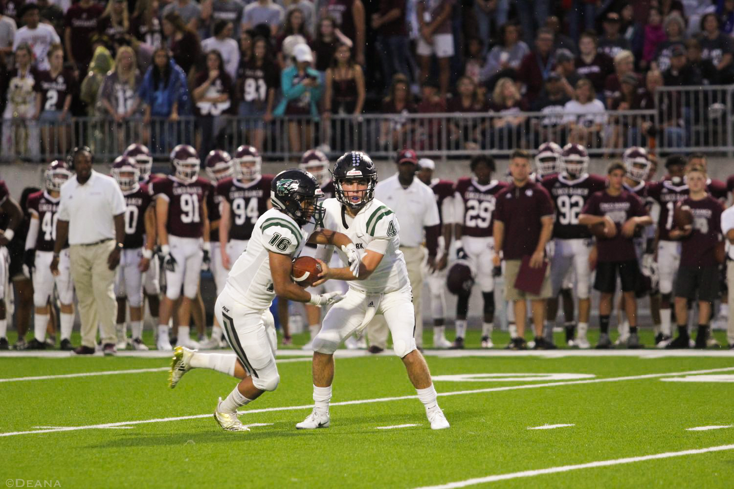 CPFB now sits at 2-2 following their 14-13 victory over Cinco Ranch. Sophomore QB Ryder Hernandez hands off to junior RB Jonathan Stockwell on Sept. 21 at Katy Cinco Ranch.