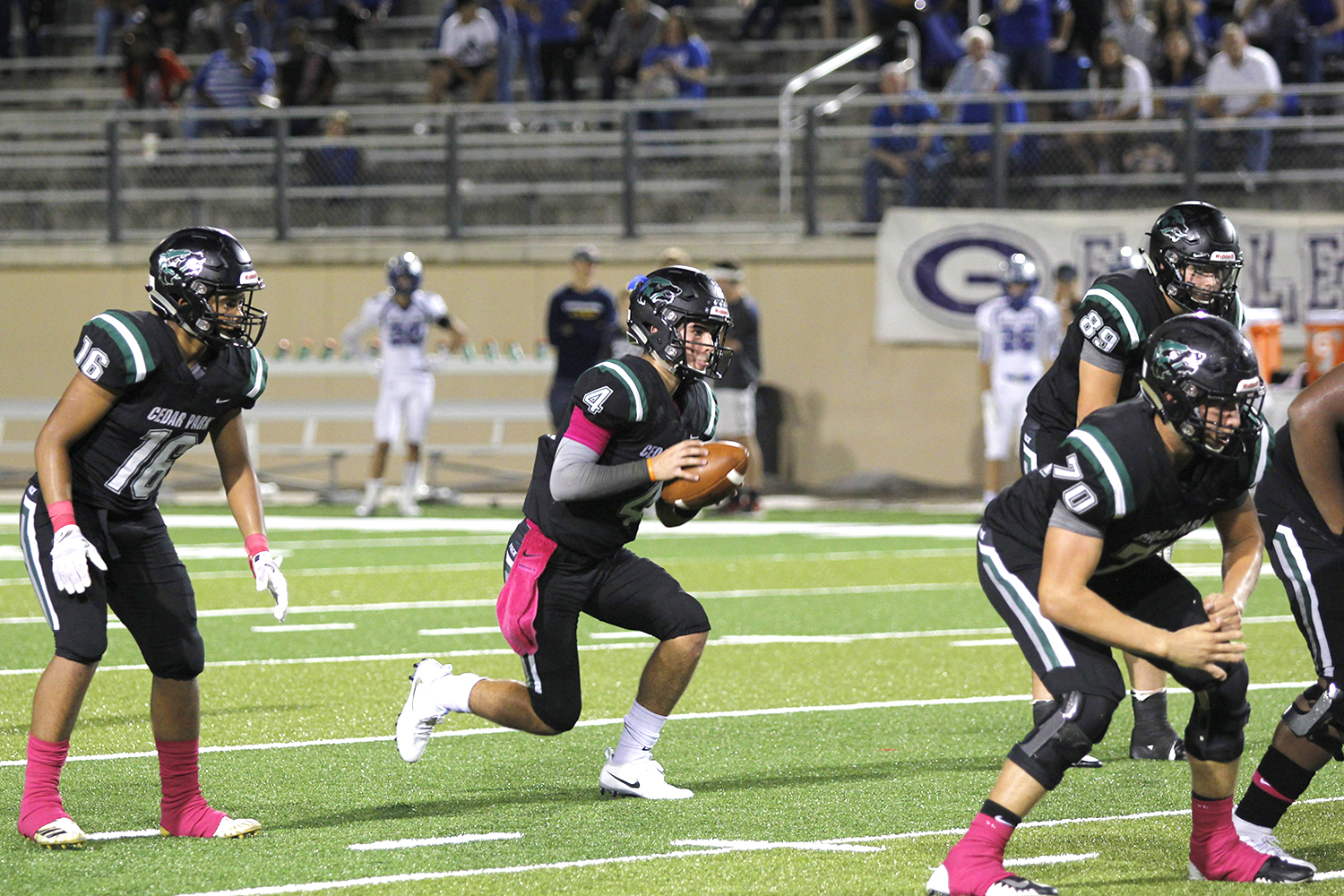 Timberwolves defeat Eagles 27-24, improve to 5-2. Sophomore QB Ryder Hernandez drops back to pass against Georgetown.