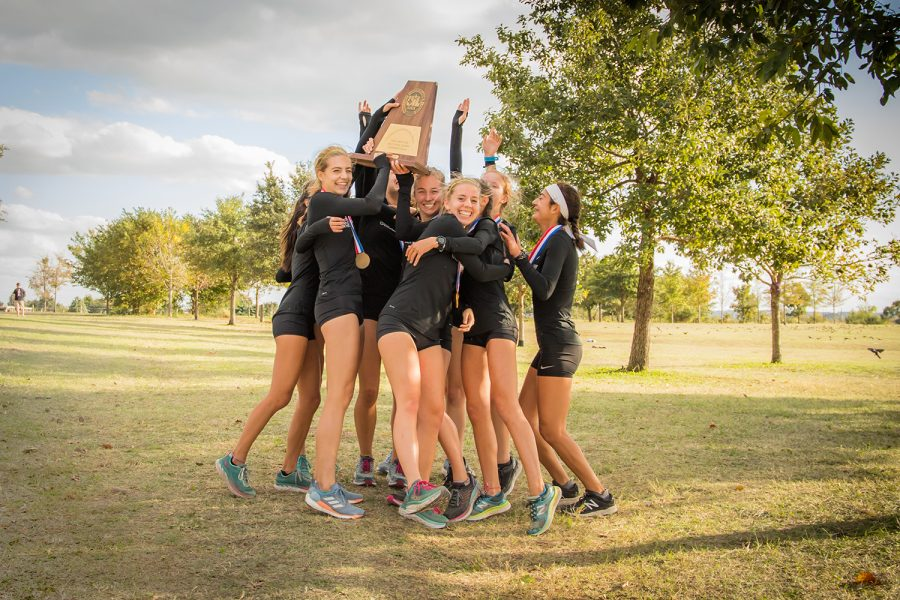 Jumping+for+joy%2C+the+girls+cross+country+team+celebrate+their+third+place+bronze+win+at+State+on+Nov.+4.