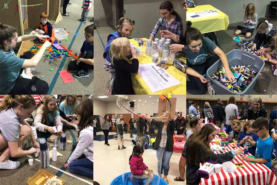 Playing with the  Deer Creek Elementary kids, SNHS members volunteer to teach kids STEAM concepts through various booths on Feb. 7.