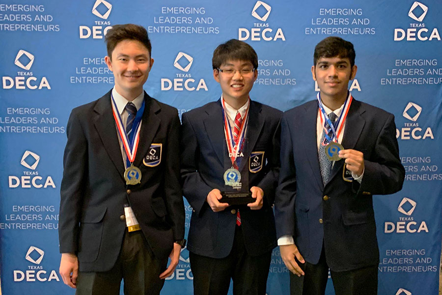 Seniors Justin Nita. Grant Lee and Adri Karmakar advance to the International level in DECA. On April 28, these seniors, along with others from DECA, are to compete in Orlando, FL.