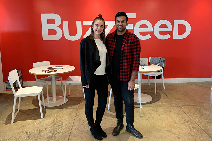 """Senior Sydney Polishook stands with former student Rahul Kothari, who helped get her a spot at New York's Buzzfeed headquarters for COOL Week in February. """"I would say to anyone considering COOL Week to do it,"""" Polishook said. """"It's an amazing opportunity to go to job sites and get your name out there. [COOL week] is the perfect opportunity to get your name in people's heads for the future."""""""