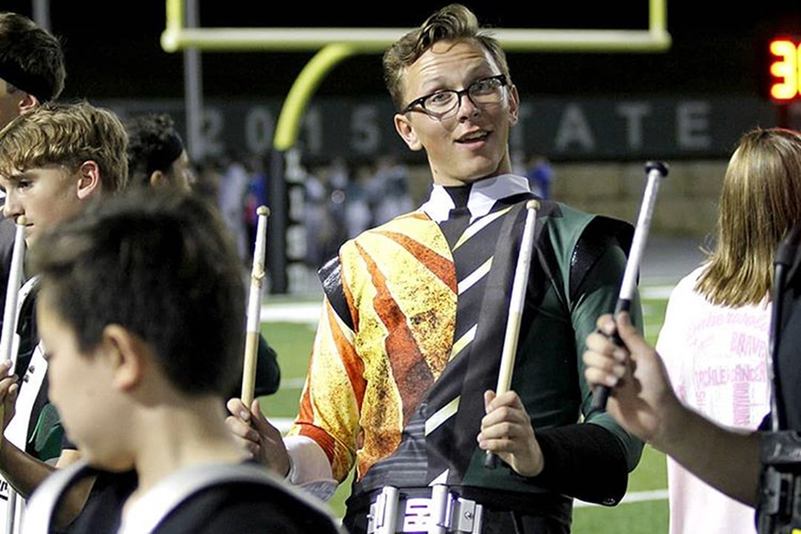 "Senior Alec Peal participates in Cedar Park's drumline. ""I would say [drumline] is the part of the marching band that brings it all together,"" Peal said."