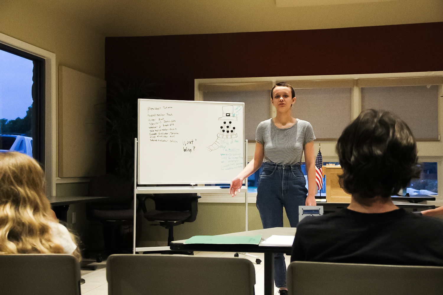 Speaking at a Youth Toastmasters 4-H Club meeting, senior Deana Trautz completes an impromptu table topic. Trautz formed the club last March, creating the first youth Toastmasters club in all of Austin.