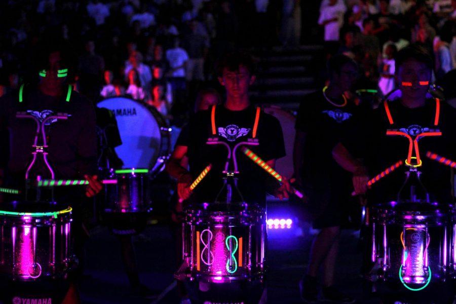 Senior Noah Hedges on drumline- Photo by Megan Bonsall
