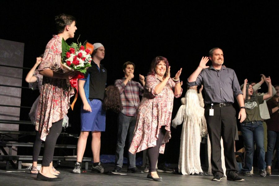 Celebrating+the+conclusion+of+the+first+%22Stage+Parents%22+performance%2C+junior+Victor+Martinez+gifts+theater+director+Alisa+Mirabella%2C+roses.++