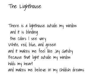 """An excerpt of 'Lighthouse' by sophomore Ireland Weaver. Weaver often writes things that tell stories that highlight the pain and emotional experiences in people's lives.  """"For me, talking about great tragedies, like losing people, losing yourself and then getting that back, struggling, finding out who you are, that's what it's about,"""" Weaver said. """"For a lot of people that have read my stuff, this seems kind of sad to them, but for me, it's like surviving. Telling the stories of people persevering."""""""